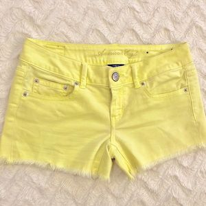 [American Eagle] Neon Yellow Cut Off Jean Shorts